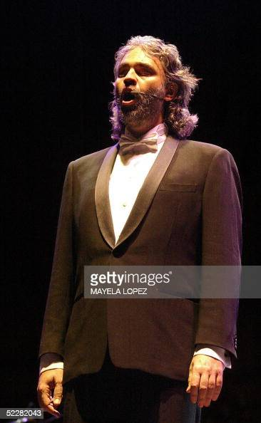 Italian tenor Andrea Bocelli sings at Ricardo Saprissa Stadium in San Jose during a concert with the Costa Rican National Philharmonic Orchestra and...