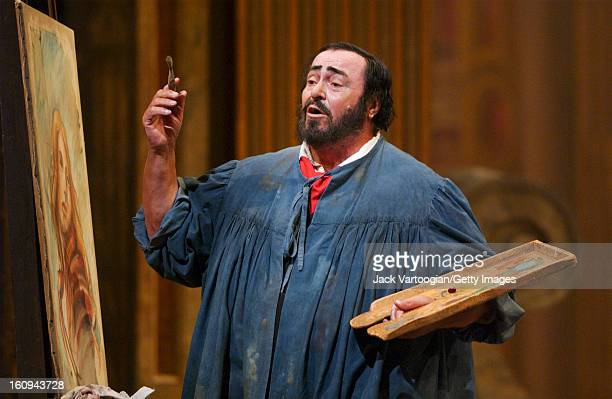 Italian tenor Luciano Pavarotti in the final dress rehearsal of the Metropolitan Opera/Franco Zeffirelli production of Giacomo Puccini's 'Tosca' New...