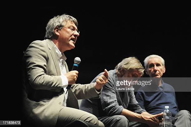 Italian Trade Unionist FIOMCGIL Maurizio Landini speaks beside Gino Strada founder of Emergency and jurist and politician Stefano Rodotà during the...