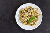 Italian traditional pasta with pesto sauce