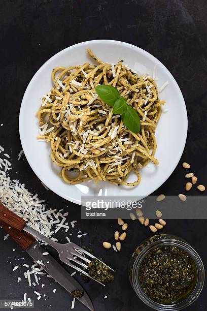 Italian traditional pasta with pesto sauce
