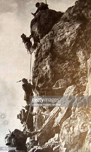 Italian troops climb the face of Monte Nero during World war one 1915 The 1st Alpini Regiment was a light Infantry regiment of the Italian Army...