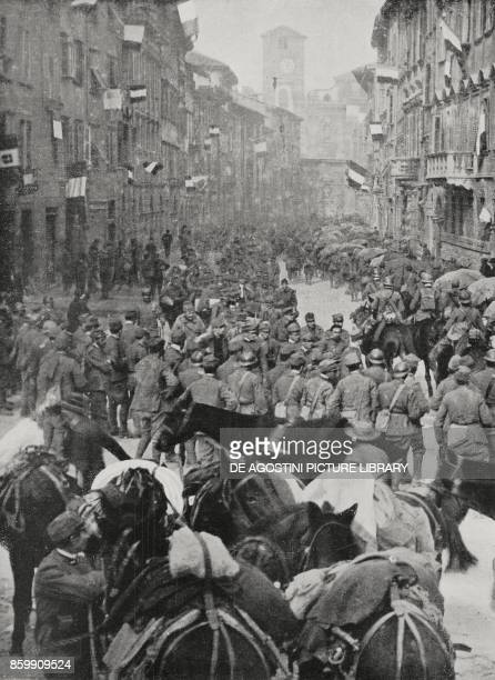 Italian troops entering Trento Italy World War I from l'Illustrazione Italiana Year XLV No 46 November 17 1918