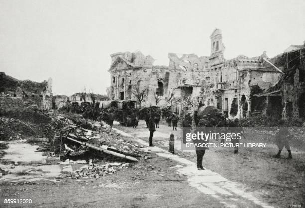Italian troops in the ruins of San Dona di Piave Veneto Italy World War I from l'Illustrazione Italiana Year XLV No 49 December 8 1918