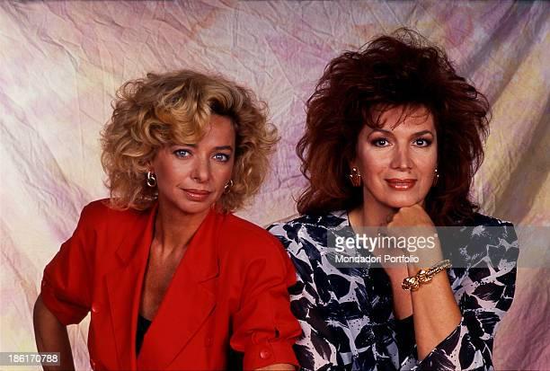 Italian TV and radio presenter Enrica Bonaccorti posing with Italian singer and TV presenter Iva Zanicchi Italy 1989
