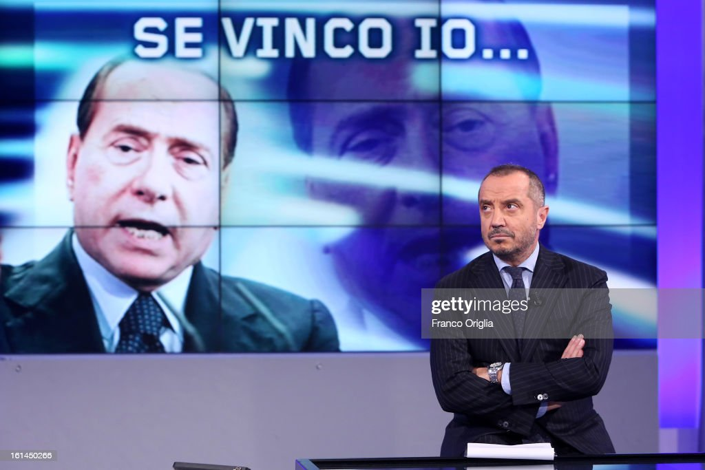 Italian TV conductor Franco Di Mare attends 'Uno Mattina' TV talk show on February 11, 2013 in Rome, Italy. The former Italian prime minister will lead his centre-right coalition during the Italian elections scheduled for February 24.