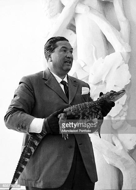 Italian TV host Angelo Lombardi holding a crocodile cub in the TV show L'amico degli animali 1960