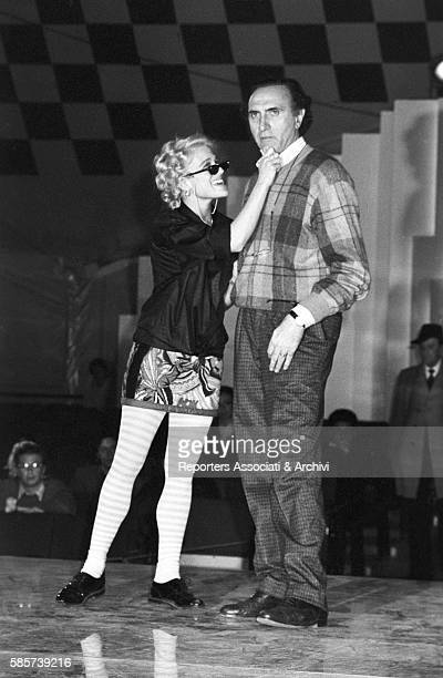 Italian TV host Pippo Baudo with American showgirl and singer Heather Parisi during the reharsals for TV show Fantastico 5 In the picture the dancer...