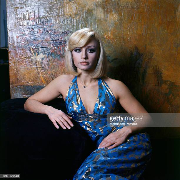 Italian TV presenter actress singer and showgirl Raffella Carrà wearing an evening dress Italy 1970s