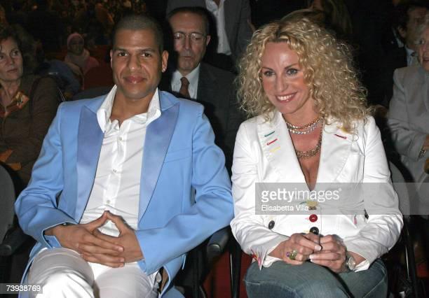 Italian TV presenter Antonella Clerici and her boyfriend Eddy Martens attend the 'Tutto Dante' performance by Roberto Benigni at Teatro Tenda on...