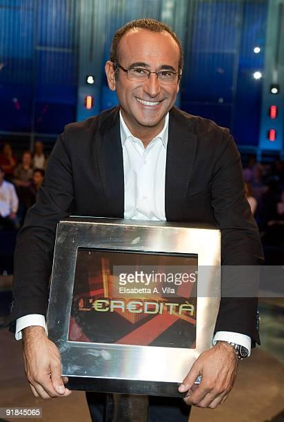 Italian TV presenter Carlo Conti attends 'L'Eredita' at RAI Studios on October 12 2009 in Rome Italy