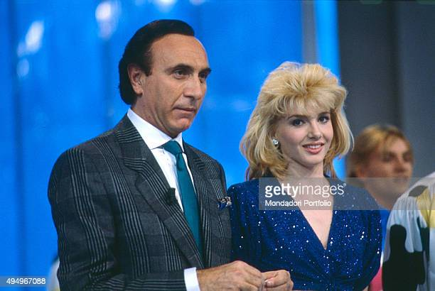 Italian TV presenter Pippo Baudo and the showgirl Lorella Cuccarini in the Tv show 'Fantastico 7' broadcasted by Raiuno Rome 1986