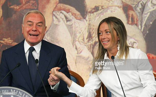 Italian Undersecretary Gianni Letta and minister of the Youth Giorgia Meloni attend a press conference at Chigi palace on September 22 2011 in Rome...
