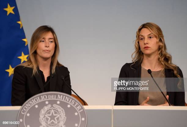 Italian UnderSecretary to the Presidency of the Council of Ministers Maria Elena Boschi and Minister for Public Simplification Marianna Madia address...