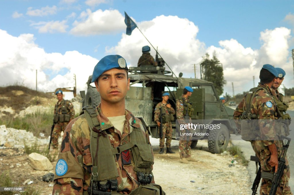 Italian United Nations soldiers on patrol in southern Lebanon, September 21, 2006. Lebanese President Emile Lahoud made a plea to the United Nations today asking for help for his 'ravaged country', damaged in the war between Lebanon and Israel this summer.