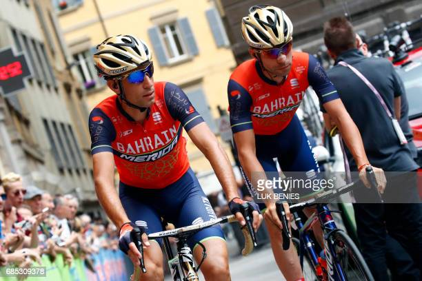Italian Vincenzo Nibali of BahrainMerida waits before the start of the 13th stage of the 100th Giro d'Italia Tour of Italy cycling race from Reggio...