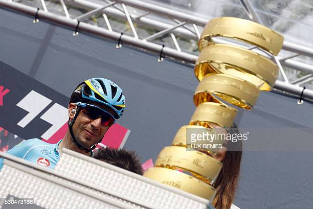 Italian Vincenzo Nibali of team Astana looks on next to the trophy prior to the start of the 5th stage of the 99th Giro d'Italia from Praia a Mare to...