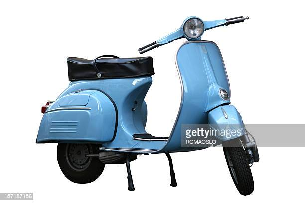Italian vintage scooter isolated on white in Rome, Italy