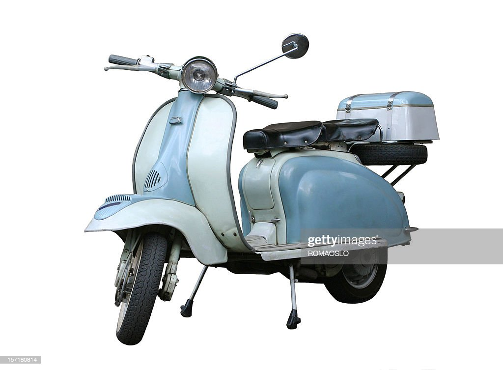 Italian vintage scooter isolated on white, Rome Italy