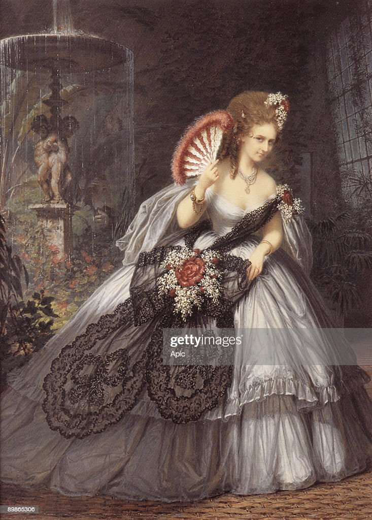 Italian Virginia Oldoini countess of Castiglione she was the spy of french emperor NapoleonIII here photo by PierreLouis Pierson with gouache by...