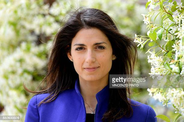 Italian Virginia Raggi Five Star Movement candidate for the election of Rome's mayor poses on May 19 2016 during an interview in Rome The first round...