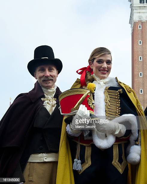 Italian Volleyball Olympic player Francesca Piccinini wearing an Hussar Costume from Atelier Pietro Longhi and Francesco Briggi of Atelier Pietro...