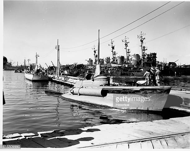Italian warships surrendered at Taranto Italy Closeup of one of the tiny submarine Except for the periscope the vessel closely resembles a motor...
