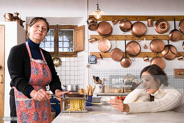 Italian women making pasta