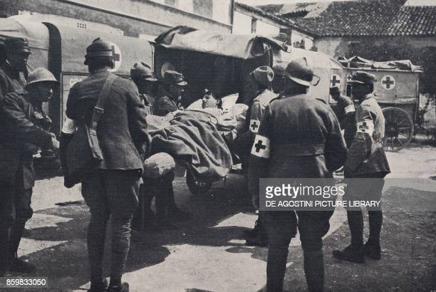 Italian wounded at a medication point Battle of Piave Italy World War I from l'Illustrazione Italiana Year XLV No 26 June 30 1918