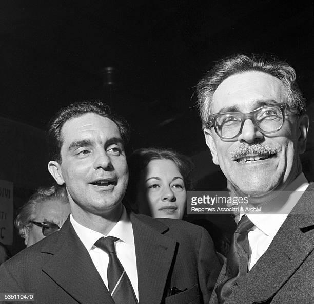 Italian writer and director Mario Soldati with the winner of Bagutta Prize and Italian writer Italo Calvino Italy 1959