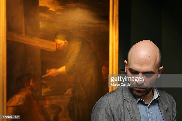 Italian writer and journalist Roberto Saviano visiting the Uffizi exhibition in Casal Di Principe 'The light wins the shadow'