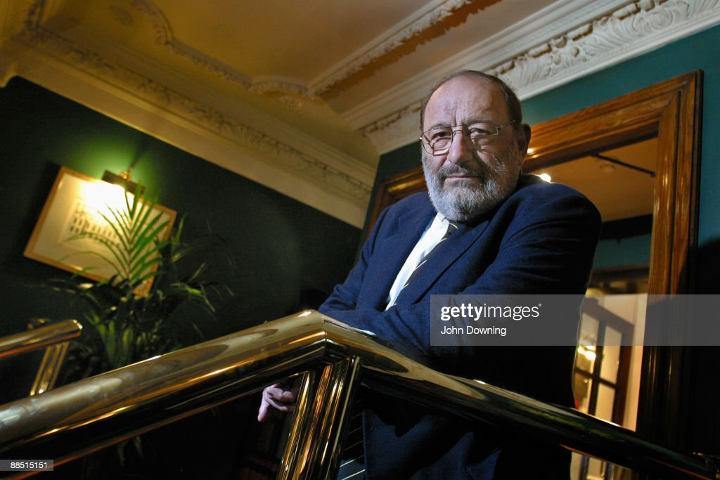 Italian writer and philosopher <a gi-track='captionPersonalityLinkClicked' href=/galleries/search?phrase=Umberto+Eco&family=editorial&specificpeople=822903 ng-click='$event.stopPropagation()'>Umberto Eco</a> at the Meridian Hotel, London, 14th November 2005.