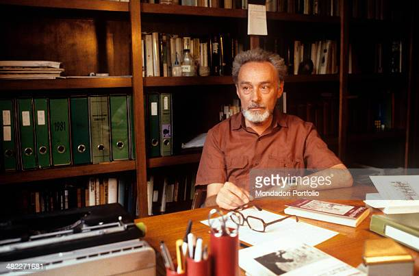 Italian writer Primo Levi sitting in his studio Turin 1981