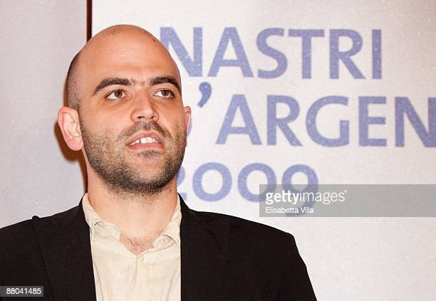 Italian writer Roberto Saviano attends the 2009 Nastri D'Argento Nominations dinner party at Villa Medici on May 28 2009 in Rome Italy