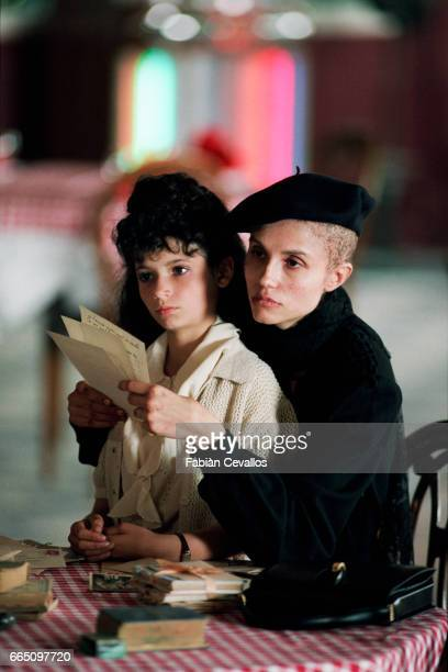 Italianborn actress Alessandra Martines and young actress Salome Lelouch directed by French director Claude Lelouch on the set of his film 'Les...