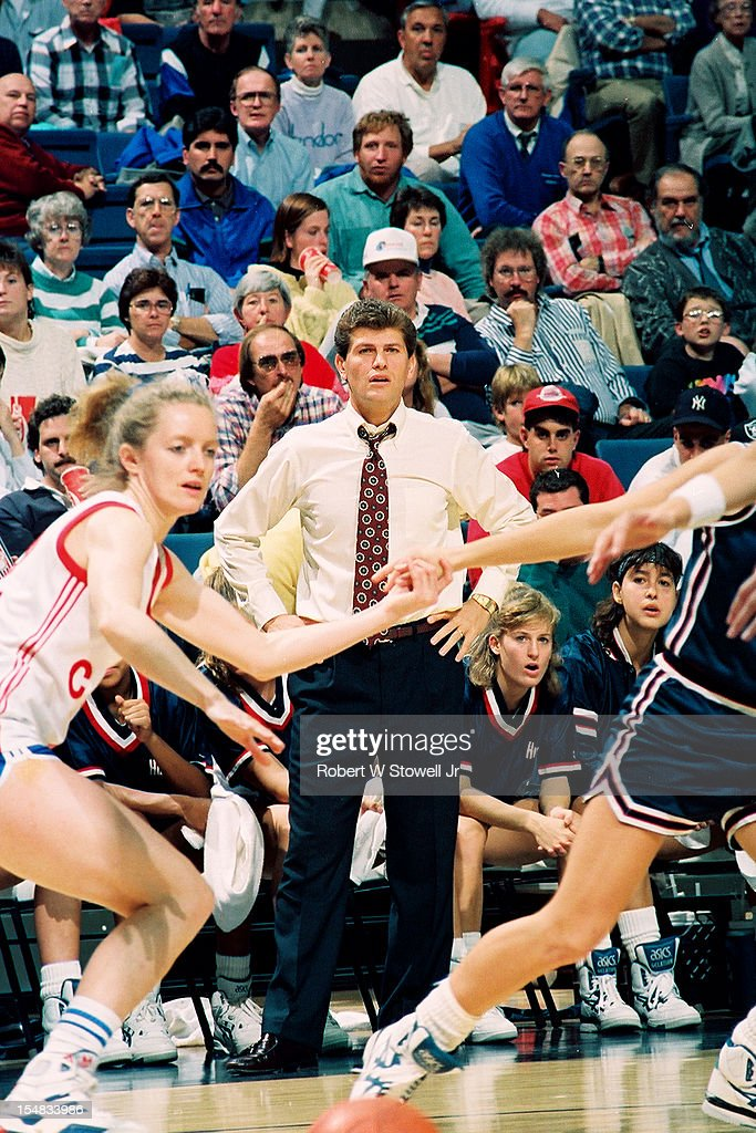 Italian-born American women's basketball coach <a gi-track='captionPersonalityLinkClicked' href=/galleries/search?phrase=Geno+Auriemma&family=editorial&specificpeople=704607 ng-click='$event.stopPropagation()'>Geno Auriemma</a>, of the University of Connecticut, paces the sidelines during a game against the Russian national team, Storrs, Connecticut, 1990.