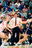 Italianborn American women's basketball coach Geno Auriemma of the University of Connecticut paces the sidelines during a game against the Russian...