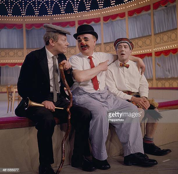 1968 ItalianEnglish clown Charlie Cairoli posed in centre with two stooges on the 'Hippodrome Show' on television in 1968