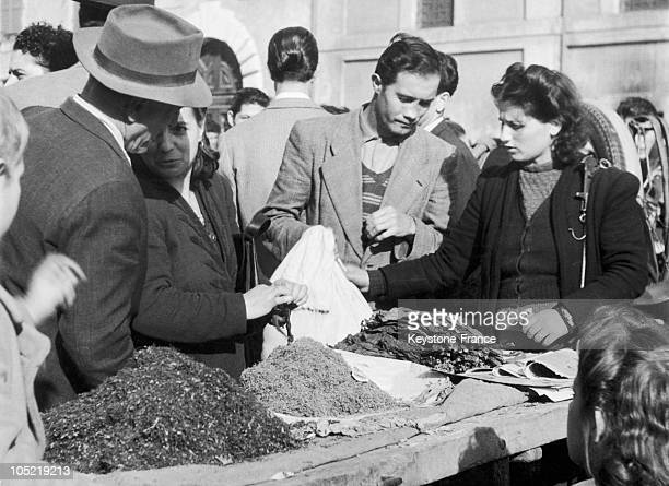 Italians Buying Tobacco On The Black Market In Rome In December 1946 The Rationing Caused By The War Allowed 4 Cigarettes Per Man And 0 For Women...