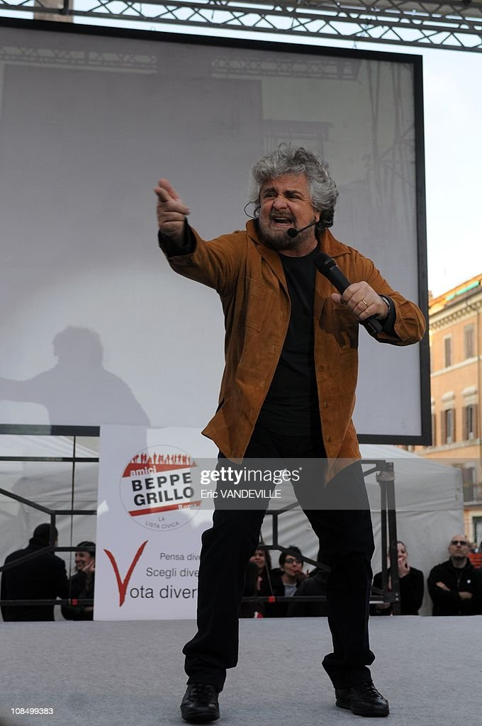 Italians will go to the polls for legislative elections on April 13-14, 2008. General election in Italy: meeting in Rome of <a gi-track='captionPersonalityLinkClicked' href=/galleries/search?phrase=Beppe+Grillo&family=editorial&specificpeople=4246058 ng-click='$event.stopPropagation()'>Beppe Grillo</a>, a popular comic-cum-crusader who has urged Italians to say 'Fuck off' to traditional politics. A few months ago he celebrated what he called 'V-Day': V not for victory but 'vaffanculo': an extremely vulgar, though common, expression which corresponds closely to 'fuck off'. 'V-Day' was 'Fuck Off Day', those being invited to go forth and multiply being Italy's politicians in Rome, Italy on March 15, 2008.