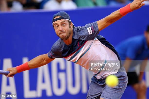 Italia's Paolo Lorenzi returns the ball during the Umag 2017 ATP 250 tennis final match between Russia's Andrey Rublev and Italia's Paolo Lorenzi in...
