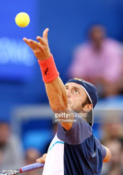 Italia's Paolo Lorenzi serves the ball during the Umag 2017 ATP 250 tennis final match between Russia's Andrey Rublev and Italia's Paolo Lorenzi in...
