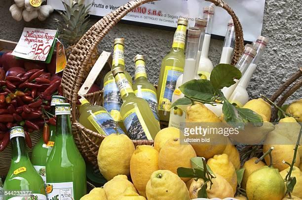 Gardasee Zitronen und Limoncello in einer Obsthandlung in Limone