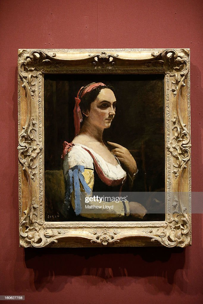 'L'Italienne ou La Femme a la Manche Jaune' by French artist Jean-Baptiste Camille Corot is displayed at the National Gallery on February 4, 2013 in London, England. The artwork has been permanently allocated to the National Gallery for public exhbition by the estate of Lucian Freud.