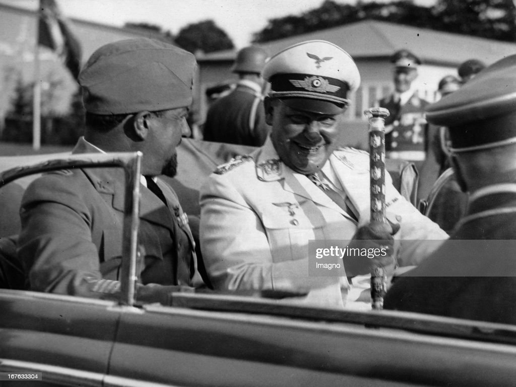 Italo Balbo (Governor General of Libya) with Field Marshal <a gi-track='captionPersonalityLinkClicked' href=/galleries/search?phrase=Hermann+Goering&family=editorial&specificpeople=93518 ng-click='$event.stopPropagation()'>Hermann Goering</a> at the airport. Berlin. Germany. Photograph. . (Photo by Imagno/Getty Images) Italo Balbo ( Generalgouverneur von Libyen) mit Generalfeldmarschall Hermann Göring beim Verlassen des Flugplatzes. Berlin. Deutschland. Photographie. 9.8.1938.