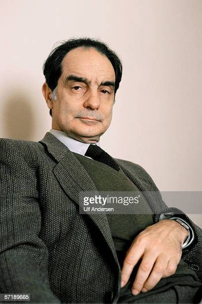 Italo Calvino poses at home in ParisFrance during January of 1984