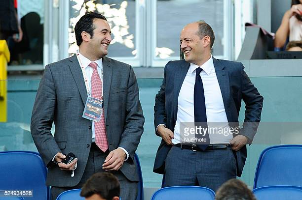 Italo Zanzi and Mauro Baldissoni during the Serie A match between AS Roma and AC Chievo Verona at Olympic Stadium Italy on October 18 2014