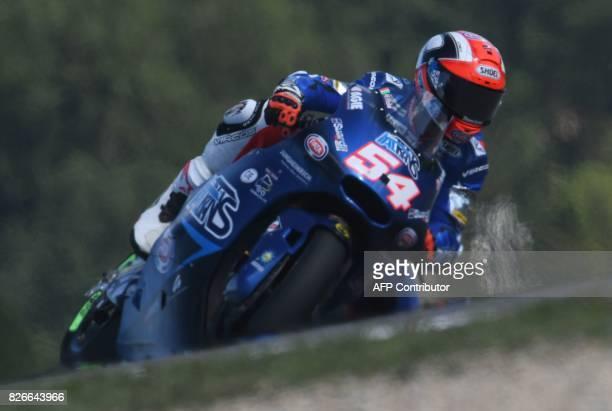 Italtrans Racing Team's Italian rider Mattia Pasini rides his Kalex during the qualification of the Moto 2 part of Czech Grand Prix in Brno Czech...