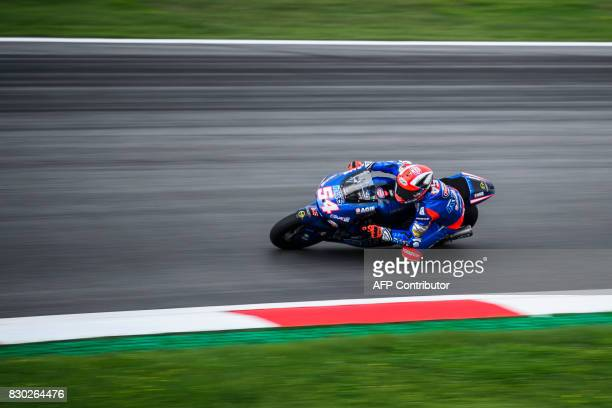 Italtrans Racing's Team Italian rider Mattia Pasini competes during first practice session of the Moto2 Austrian Grand Prix weekend at Red Bull Ring...