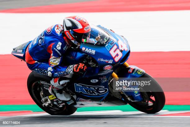 Italtrans Racing's Team Italian rider Mattia Pasini competes during the qualifying session of the Moto2 Austrian Grand Prix weekend at Red Bull Ring...